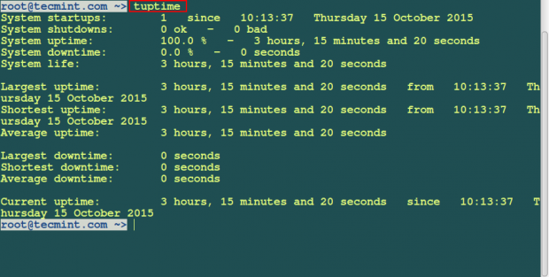 tuptime – Shows Historical and Statistical Running Time of Linux Systems